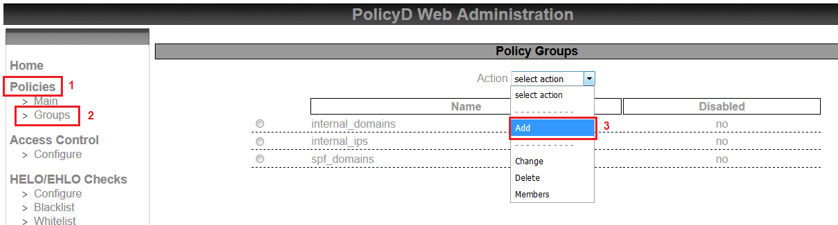saadwebid policies groups policyd rate limit zimbra