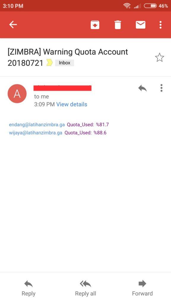 saadwebid membuat notif warning quota mailbox zimbra