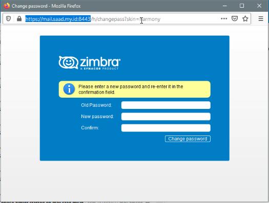 Change Password Web Client Zimbra